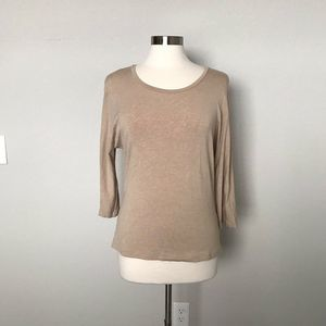 Max Mara Womens Extra Large Beige Jersey Knit Top